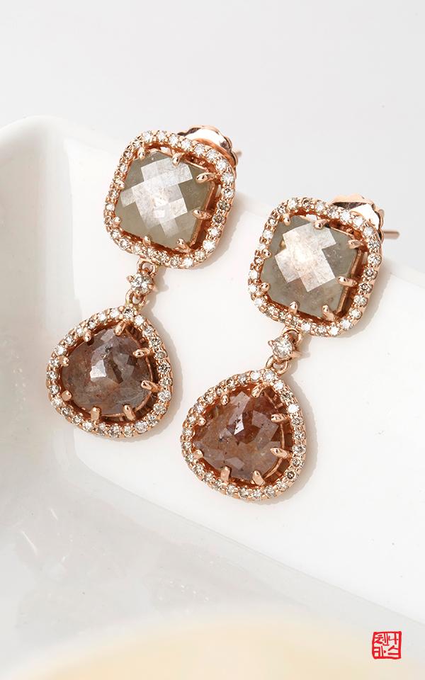 1049751 - [나스첸카 NASCHENKA] 2단 러프 다이아몬드 헤서웨이 _ 14K 러프 다이아몬드 귀걸이