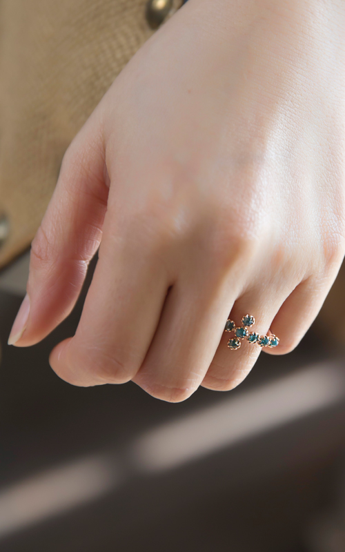 1057794 - [나스첸카 NASCHENKA] 알렉산더 청러프 다이아몬드 크로스 _ diamond 14K 청러프 다이아몬드 반지