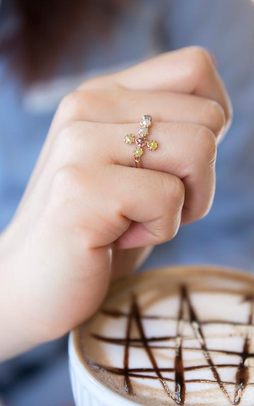 1059712 - [나스첸카 NASCHENKA] 알렉산더 러프 다이아몬드 크로스 _ diamond 14K 러프 다이아몬드 반지