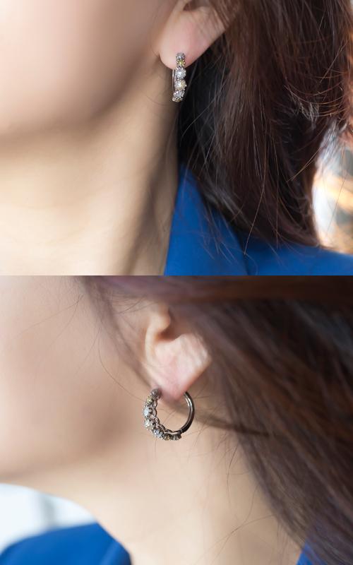1059714 - [나스첸카 NASCHENKA] 아른아른 거려서 _ 18K 러프 다이아몬드 귀걸이