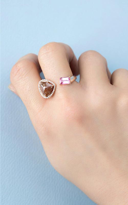 1071303 - [나스첸카 NASCHENKA] 오픈클로징 _ 14K 러프 다이아몬드 반지 루벨라이트 반지
