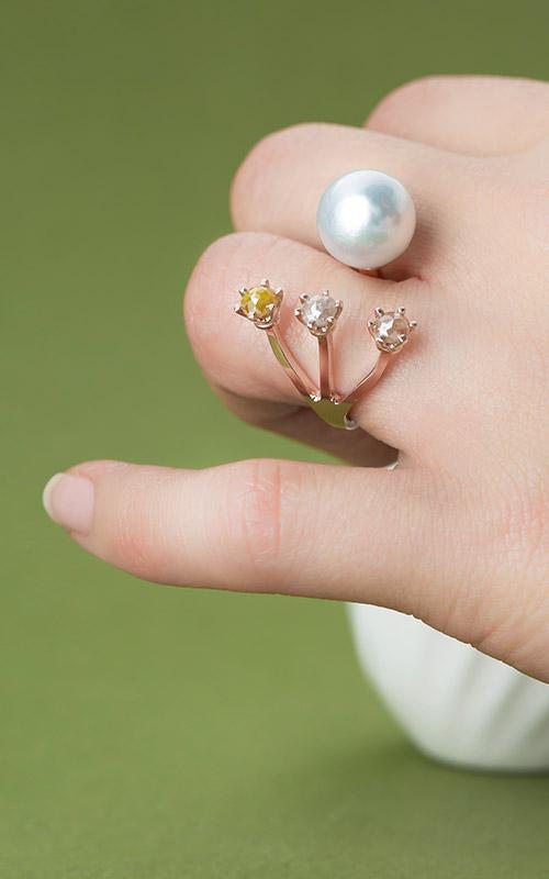 1072026 - [나스첸카 NASCHENKA] 가까이서 보자 진주 _ 14K 진주 반지 14K 러프 다이아몬드 반지