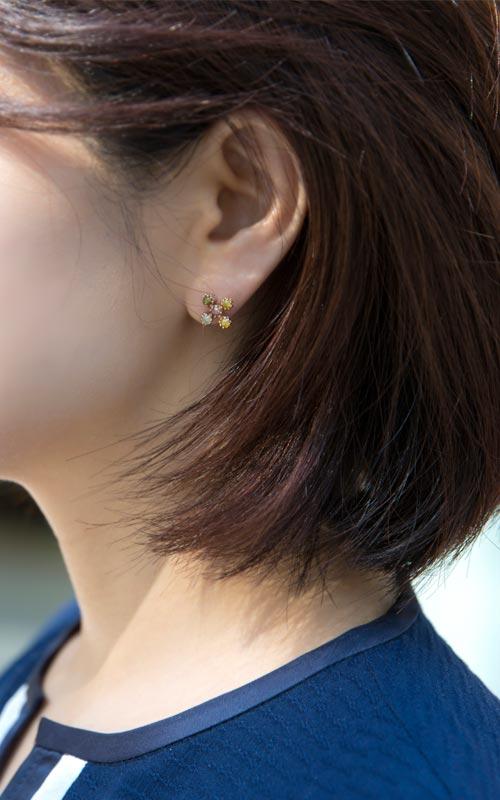 1152798 - [나스첸카 NASCHENKA] 러프 다이아몬드 알렉산더 크로스 _ 14K 러프 다이아몬드 귀걸이
