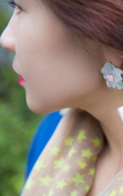 1165312 - [나스첸카 NASCHENKA] 포인트 꽃 _ jade 비취 귀걸이