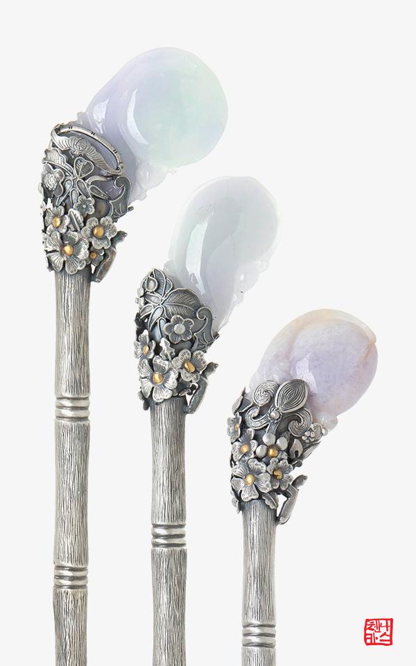 1168132 - [나스첸카 NASCHENKA] 바이올릿 향기를 품은 은 비녀 _  jade 라벤더 비취 비녀 _ 옥비녀 _ 한복비녀 _ 전통비녀