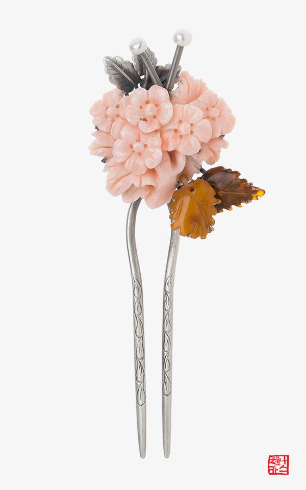 1352622 - [나스첸카 NASCHENKA] 핑크 구름 _ coral 산호 뒤꽂이 _ 한복 머리장식 _ 결혼준비 _ 신랑어머니한복 쪽진머리비녀