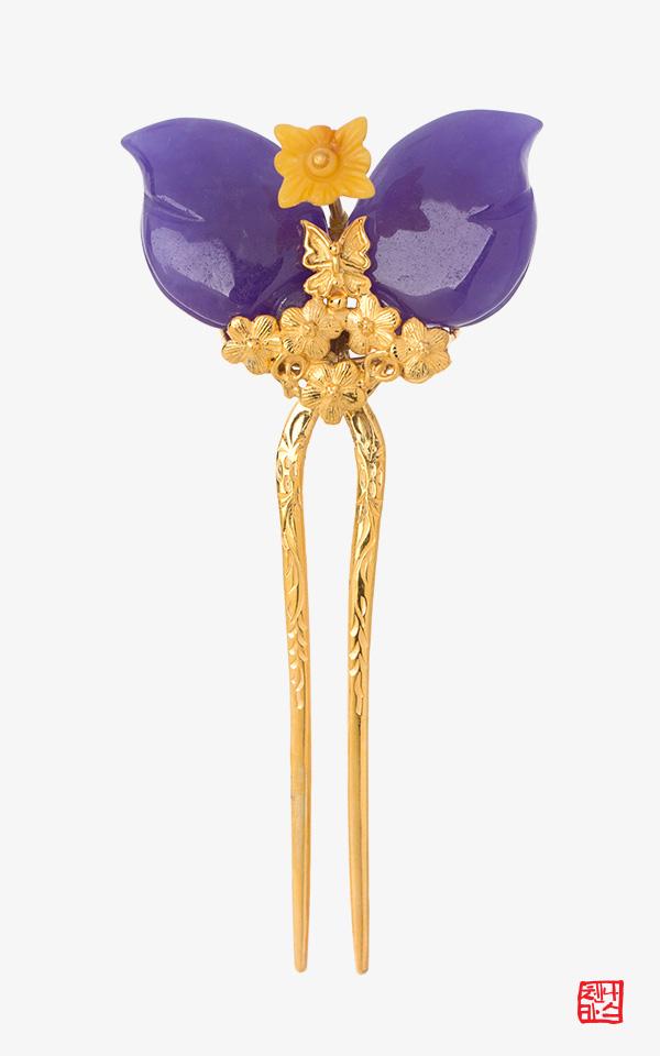 1423243 - [나스첸카 NASCHENKA] 두번째 꽃이 피네 _ 보라 [실버 수공예 뒤꽂이] _ 신랑어머니한복 쪽진머리비녀