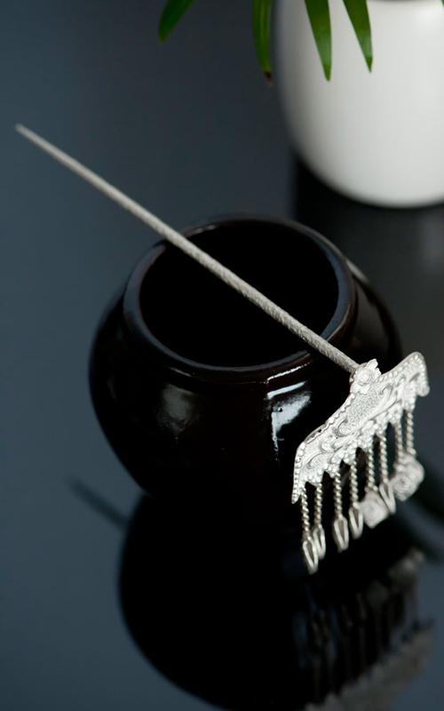 8292 - [나스첸카 NASCHENKA] 매화꽃 로맨스 사극 놀이 [실버 수공예 은 뒤꽂이] _ 한복 머리장식 _ 결혼준비 _ 신랑어머니한복