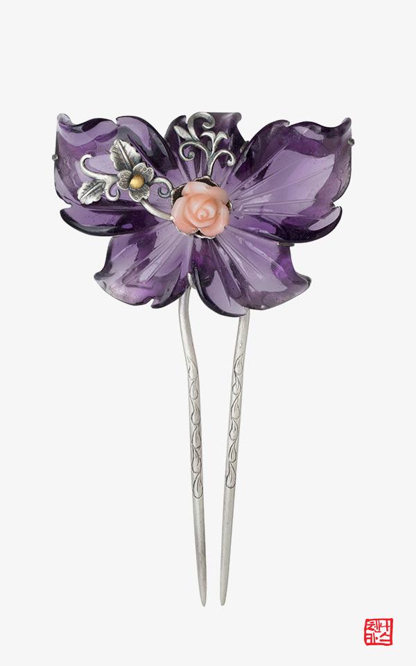 1452093 - [나스첸카 NASCHENKA] 사랑한다 말해줘 2 _ 합성 자수정 뒤꽂이 _뒤꽂이 _비녀_원석뒤꽂이_꽃비녀 _ 한복 머리장식 _ 결혼준비 _ 신랑어머니한복