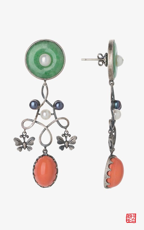 1456558 - [나스첸카 NASCHENKA] 플루트와 하프를 위한 협주곡 _ 원석 귀걸이 화려한 귀걸이 자개 귀걸이