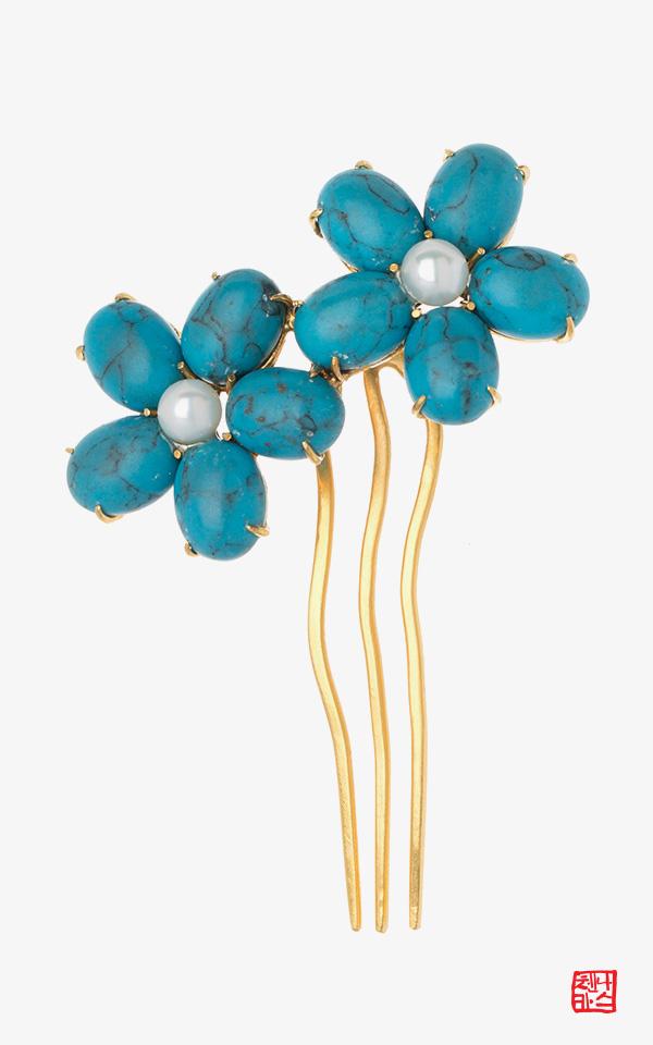 1458154 - [나스첸카 NASCHENKA] 푸른꽃 _ 합성원석  뒤꽂이 결혼 웨딩 옆꽂이  한복 머리장식 쪽진머리비녀