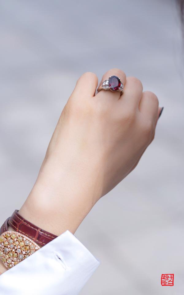 1460512 - [나스첸카 NASCHENKA] time after time _ 플래티늄 가넷 다이아몬드 반지
