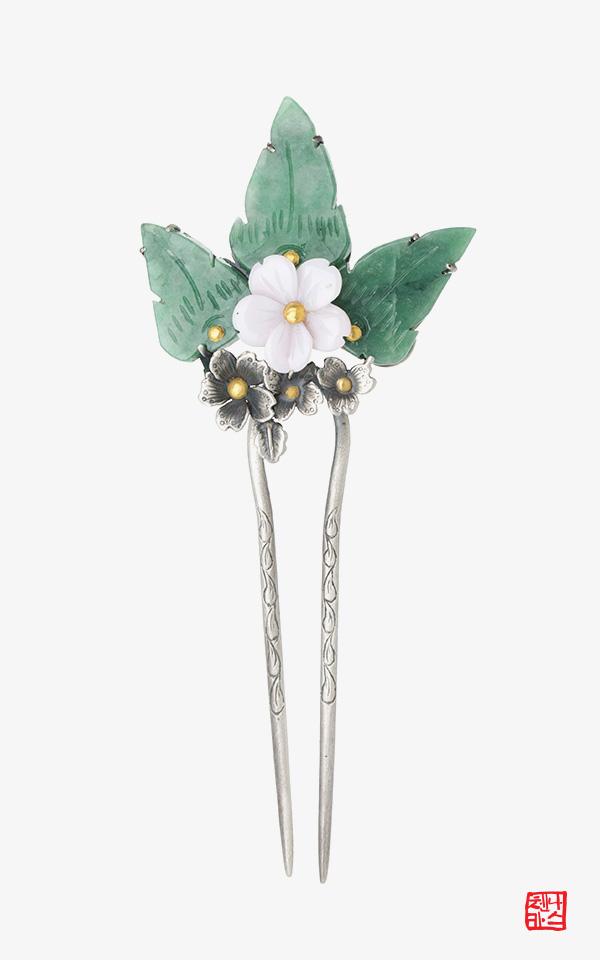 1462258 - [나스첸카 NASCHENKA] 내가 좋아하는 나스 _ 옥 콩크쉘 비취 뒤꽂이 꽃 옆꽂이 비녀 올림머리비녀 쪽진머리비녀