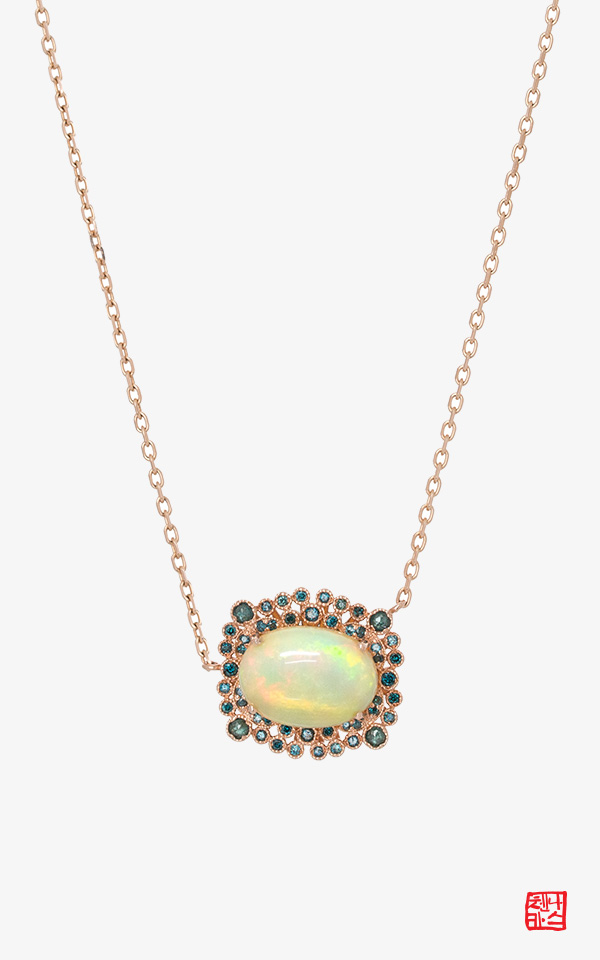 1465000 - [나스첸카 NASCHENKA] 네 앞의 나 2 _ 14K 오팔 목걸이 청러프다이아몬드 목걸이