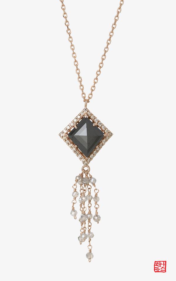 1421933 - [나스첸카 NASCHENKA] 나랑 연애할래요 _ 14K 블랙 러프 다이아몬드 목걸이