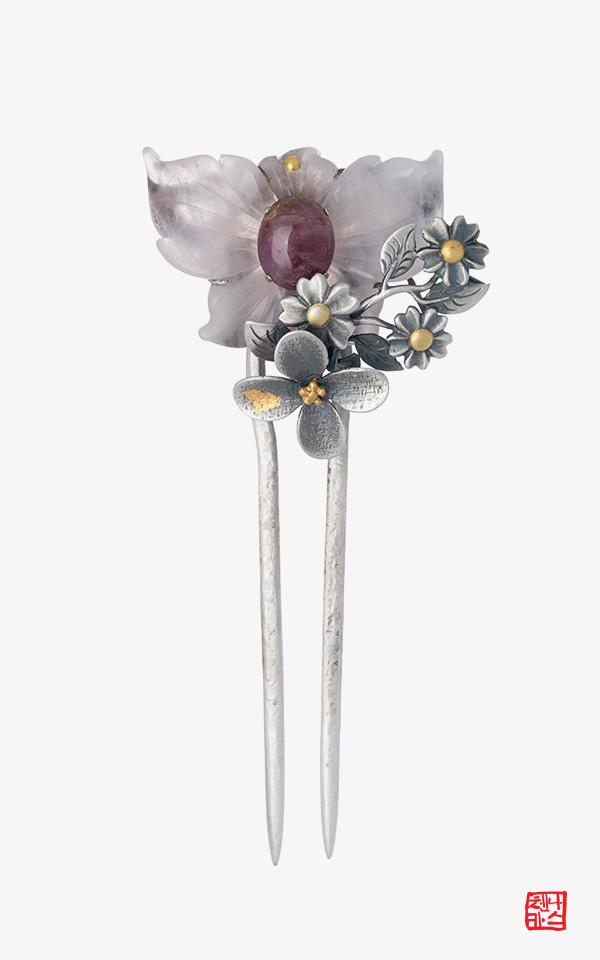 1471925 - [나스첸카 NASCHENKA] 나비가된 꽃 _  장미수정 한복 비녀 뒤꽂이 한복악세사리