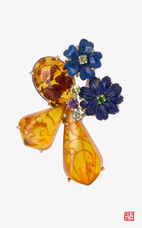 1475916 - [나스첸카 NASCHENKA] 극진한 꽃 _ 호박 청금석 브로치