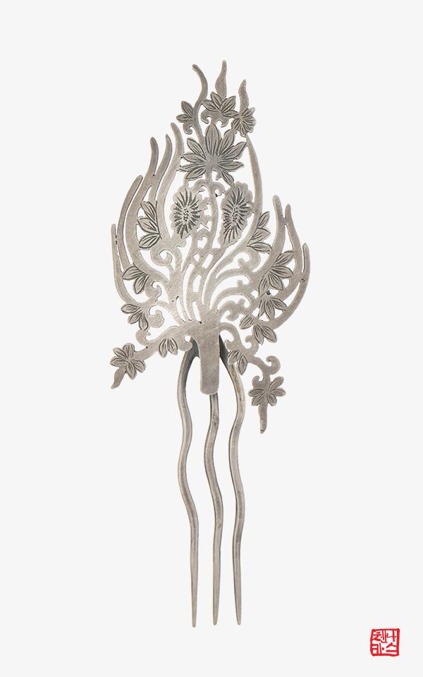 1476546 - [나스첸카 NASCHENKA] 고대의 시간 _ 인동무늬 은 뒤꽂이 _ 한복 머리장식